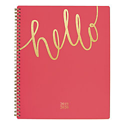 "Cambridge Aspire Academic Weekly/Monthly Planner, 8 1/2"" x 11"", Coral, July 2019 to August 2020"