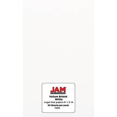 JAM Paper® Vellum Bristol Legal Card Stock, Legal Paper Size, 110 Lb, White, Pack Of 50 Sheets