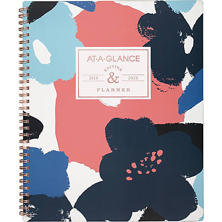 "AT-A-GLANCE® Badge Collection 13-Month Academic Year Planner, 8 1/2"" x 11"", Floral, July 2019 to August 2020"