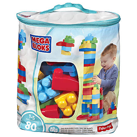 Mega Bloks First Builders Big Building Bag, 80-Piece (Classic) - Blocks for Hours of Play - Attachable Wheelbase to Create Cars and Trucks of All Colors and Sizes