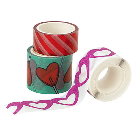Office Depot® Valentine's Day Washi Tape Rolls, 5 Yd, Assorted Designs, Pack Of 3 Rolls
