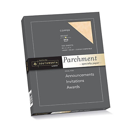 "Southworth® Parchment Specialty Paper, 8 1/2"" x 11"", 24 Lb, Copper, Pack Of 100"