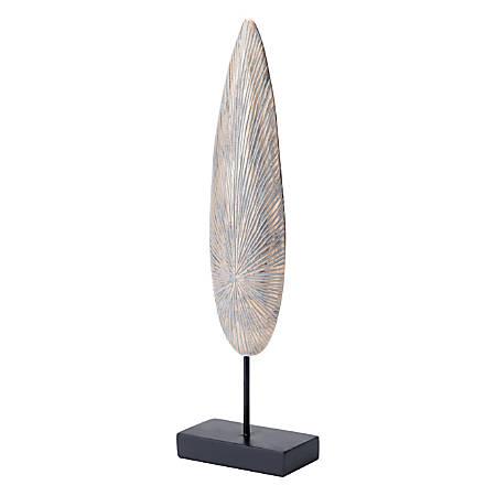 """Zuo Modern Plumas In Pedestal Sculpture, 20 1/8""""H x 6""""W x 3""""D, Antique Gold"""