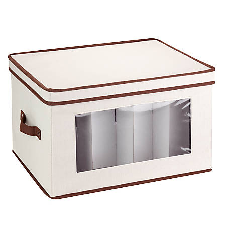 "Honey-Can-Do Large Stemware Storage Chest, 18 3/8""L x 13 7/8""W x 8 1/2""H, Brown/Natural"