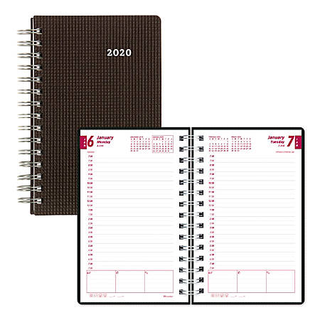 """Brownline® Daily Planner, 8"""" x 5"""", Black, January 2020 to December 2020"""