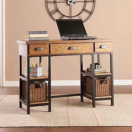 Southern Enterprises Desk, Black/Brown/Gray