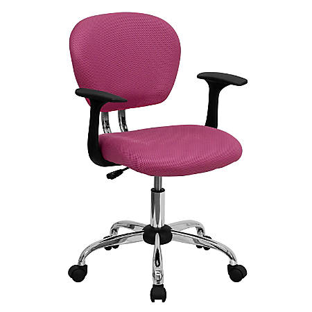 Flash Furniture Mesh Mid-Back Swivel Task Chair With Arms, Pink/Silver