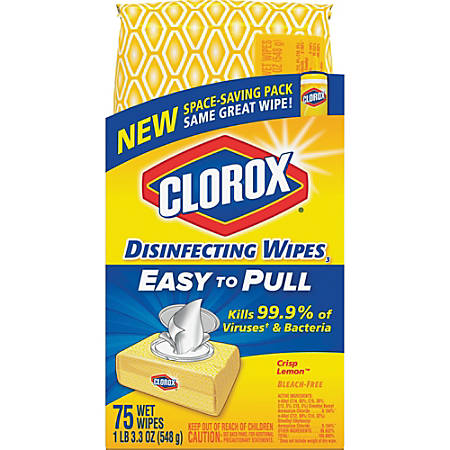 Clorox Disinfecting Wipes, Crisp Lemon Scent, 3.3 Oz, White, Pack Of 75 Wipes