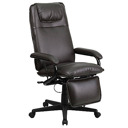 Flash Furniture Leather High-Back Reclining Swivel Chair, Brown/Black