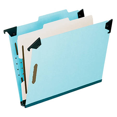 """Pendaflex® Hanging Classification Folders, 2"""" Expansion, 8 1/2"""" x 11"""", 60% Recycled, Blue, Pack Of 10"""