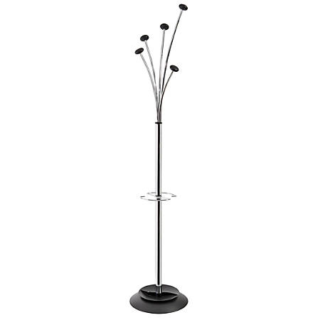 "Alba Festival 5-Peg Coat Stand, 74"", Chrome"