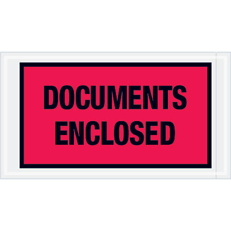 "Tape Logic® Preprinted Packing List Envelopes, Documents Enclosed, 5 1/2"" x 10"", Red, Case Of 1,000"