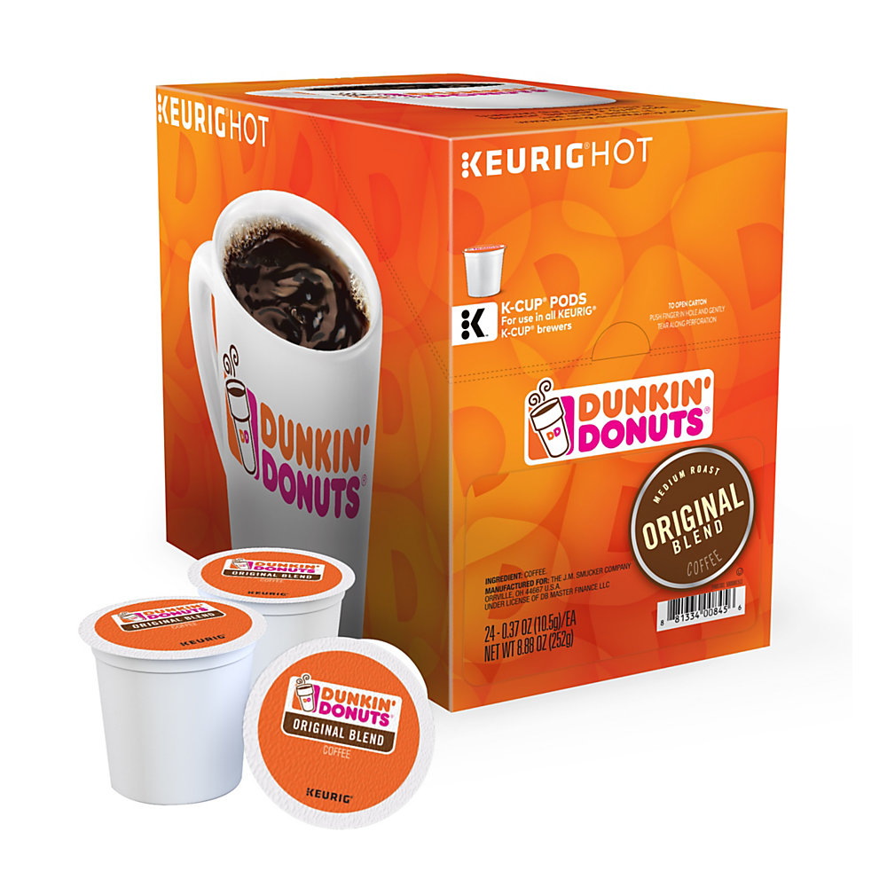 Enjoy a smooth, delicious cup of coffee at the start of a busy day. These Dunkin' Donuts coffee pods let you quickly make a single serving with virtually no fuss or mess.  Easy-to-use Dunkin' Donuts coffee K-Cup Pods have just enough beans to create a single delicious cup.  Cleans up quickly - just toss the used pod away.  Dunkin' Donuts is not affiliated with Keurig or K-Cup. K-Cup is a registered trademark of Keurig Incorporated.  Original blend is made of 100% Arabica beans for the signature taste that you love.  Includes a pack of 24 original coffee K-Cup Pods.