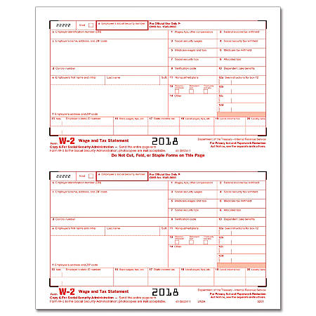 """ComplyRight™ W-2 Inkjet/Laser Tax Forms, Federal Copy A To SSA, 2-Up, 8 1/2"""" x 11"""", Pack Of 100 Forms"""