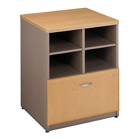 "Bush Business Furniture Office Advantage Storage Cabinet, 24""W, Light Oak/Sage, Premium Installation"