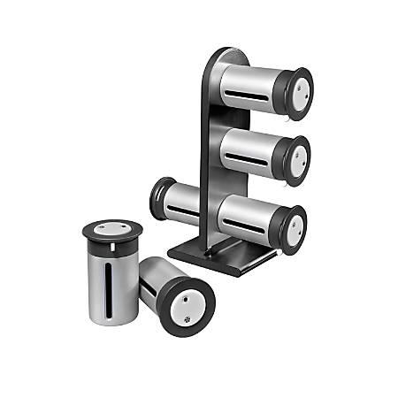 "Honey-Can-Do Zero Gravity™ Countertop Magnetic Spice Stand, 7 1/4""H x 9 3/8""W x 3 1/4""D, Metallic/Gray"