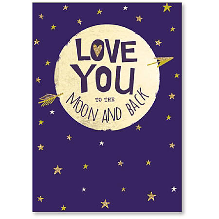 "Viabella Anniversary One I Love Greeting Card, To The Moon And Back, 5"" x 7"", Multicolor"