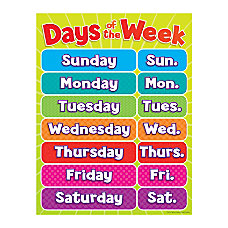 Scholastic Days Of The Week Chart