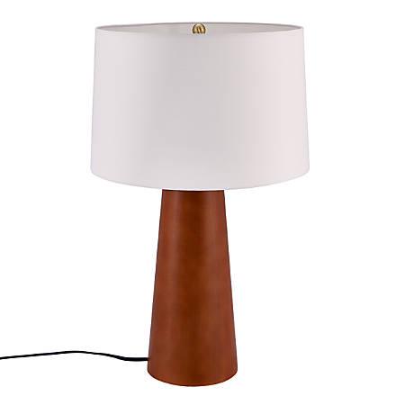"""Southern Enterprises Inga Table Lamp, 24-3/4""""H, White Shade/Dark Tobacco Base"""