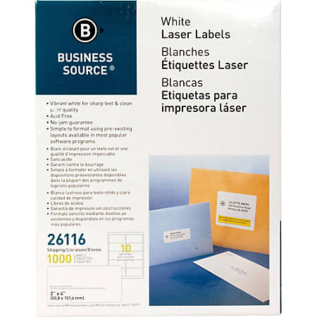 """Business Source Bright White Premium-quality Shipping Labels - Permanent Adhesive - 2"""" Width x 4"""" Length - Rectangle - Laser, Inkjet - White - 10 / Sheet - 100 Total Sheets - 1000 / Pack"""