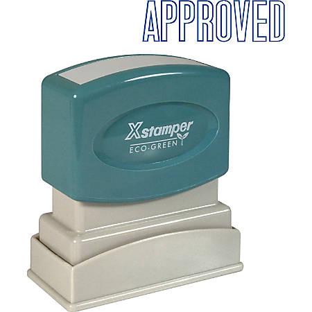 "Xstamper® One-Color Title Stamp, Pre-Inked, ""Approved"", Blue"