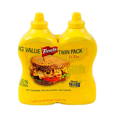 French's Classic Yellow Mustard, 30 Oz Bottle, Pack Of 2