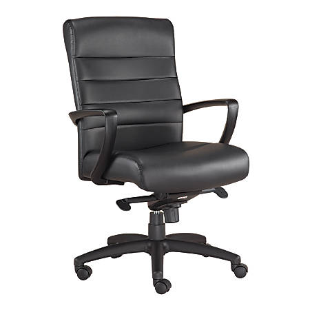 Mammoth Office Products Bonded Leather Mid-Back Executive Chair, Black