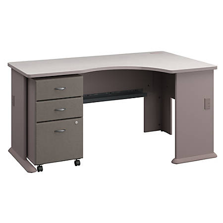 Bush Business Furniture Office Advantage Right Corner Desk With Mobile File Cabinet, Pewter/White Spectrum, Standard Delivery