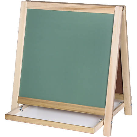 Flipside Chalkboard/Magnetic Board Table Easel - White/Green Surface - Wood Frame - Rectangle - Tabletop - Assembly Required - 1 Each