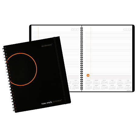 """AT-A-GLANCE® Plan. Write. Remember.® Planning Notebook With Reference Calendars, 8 9/16"""" x 11"""", Black"""