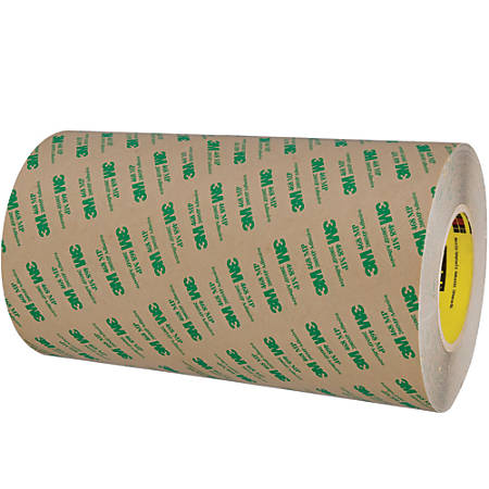 "3M™ 468MP Adhesive Transfer Tape, 3"" Core, 12"" x 60 Yd., Clear"