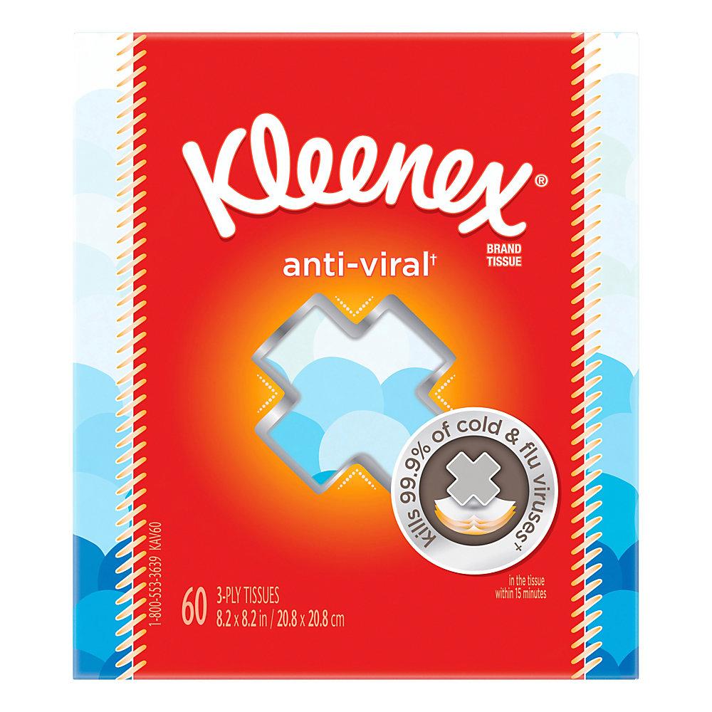 Kleenex Anti-Viral 3-Ply Facial Tissues, White, 60 Sheets Per Box