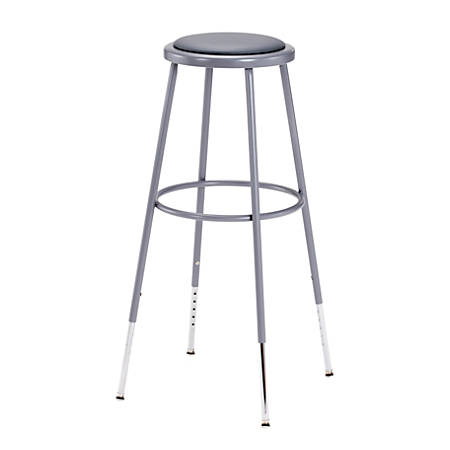 "National Public Seating Adjustable Vinyl-Padded Stool, 31 - 38 1/2""H, Gray"