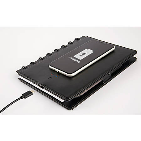 """TUL® Wireless Charging Discbound Notebook, Leather Cover, 5-1/2"""" x 8-1/2"""", Black"""