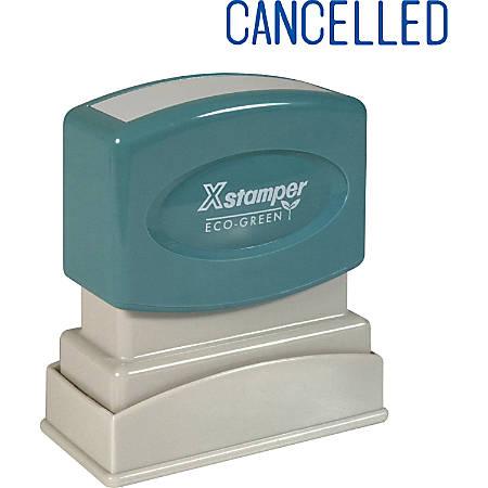 "Xstamper® One-Color Title Stamp, Pre-Inked, ""Cancelled"", Blue"
