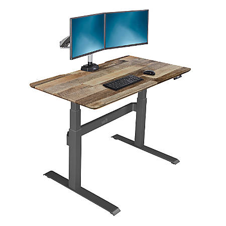 "VARIDESK ProDesk Electric Height-Adjustable Desk, 48""W, Reclaimed Wood"