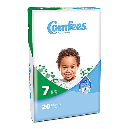 Attends® Comfees® Baby Diapers, Size 7, White, Pack Of 20