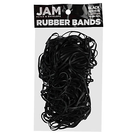 JAM Paper® Rubber Bands, Black, Size 117, Pack Of 100 Rubber Bands