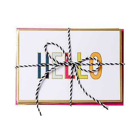 """Sincerely A Collection by C.R. Gibson® Baker's Twine Note Cards With Envelopes, 6"""" x 4 1/4"""", Bright Hello, Blank Inside, Bag Of 8"""