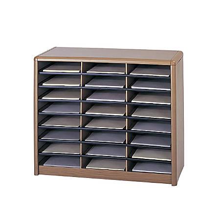 Safco® Value Sorter® Steel Corrugated Literature Organizer, 24 Compartments, Medium Oak