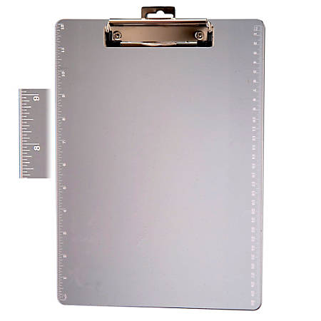 """Officemate Plastic Clipboard With Ruler, 8 1/2"""" x 11"""", Transparent"""