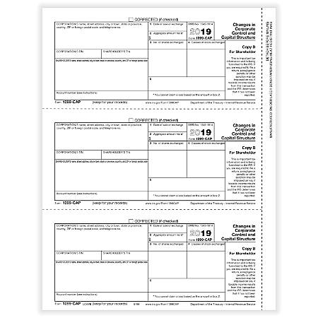 """ComplyRight™ 1099-CAP Laser Tax Forms, Shareholder Copy B, 8-1/2"""" x 11"""", Pack Of 50 Forms"""