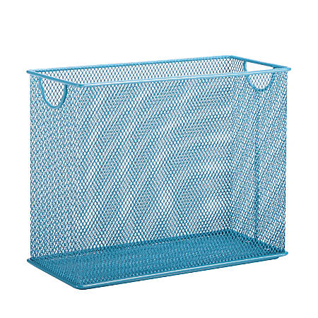 """Honey-Can-Do Tabletop Hanging File Organizer, 9 7/8""""H x 12 1/2""""W x 5 1/2""""D, Blue"""