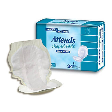 "Attends® Shaped Pads™, Day Plus, 24 1/2"", Box Of 96"