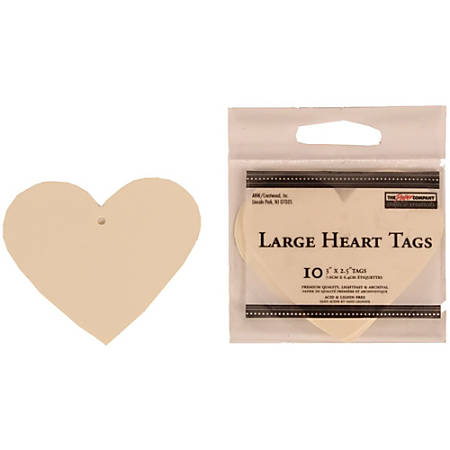 """JAM Paper® Gift Tags, 3"""" x 2 1/2"""", Ivory Heart, Pack Of 10"""