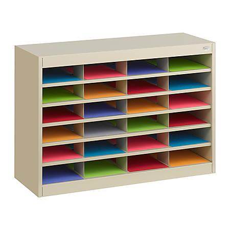 """Safco® E-Z Stor® Steel Literature Organizer, 24 Compartments, 25 3/4""""H, Tropic Sand"""