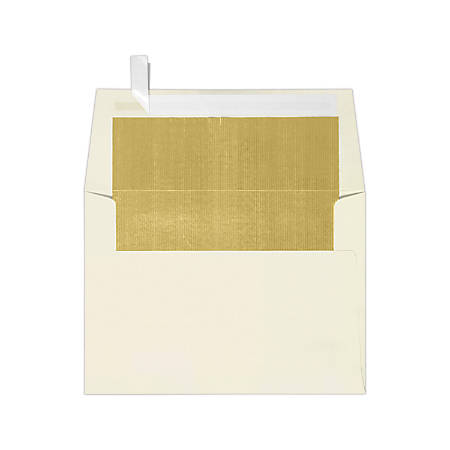 """LUX Invitation Envelopes With Peel & Press Closure, A6, 4 3/4"""" x 6 1/2"""", Gold/Natural, Pack Of 250"""