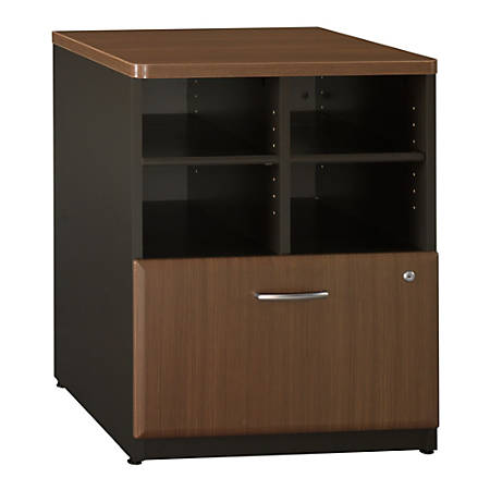 "Bush Office Advantage 24"" Storage Cabinet, 29 7/8""H x 23 5/8""W x 23 3/8""D, Sienna Walnut, Standard Delivery Service"