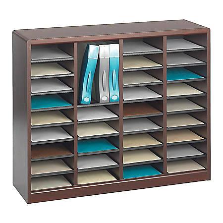 """Safco® E-Z Stor® Wood Literature Organizer, 36 Compartments, 32 1/2""""H, Mahogany"""