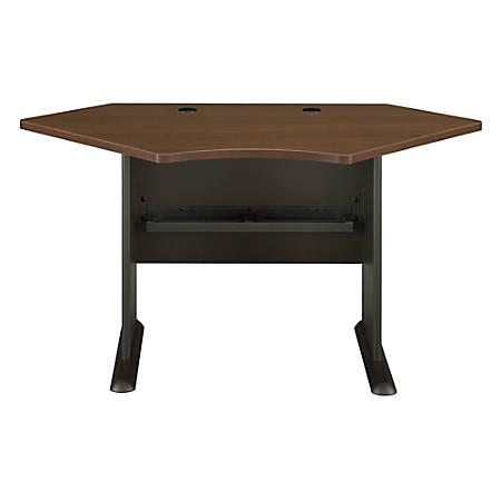 "Bush Business Furniture Office Advantage Corner Desk 42""W, Sienna Walnut/Bronze, Standard Delivery"